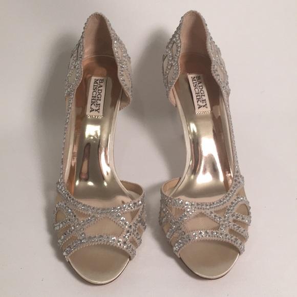 b80659b9b6c Badgley Mischka Shoes - Badgley Mischka Marla Embellished Peep-Toe Pumps